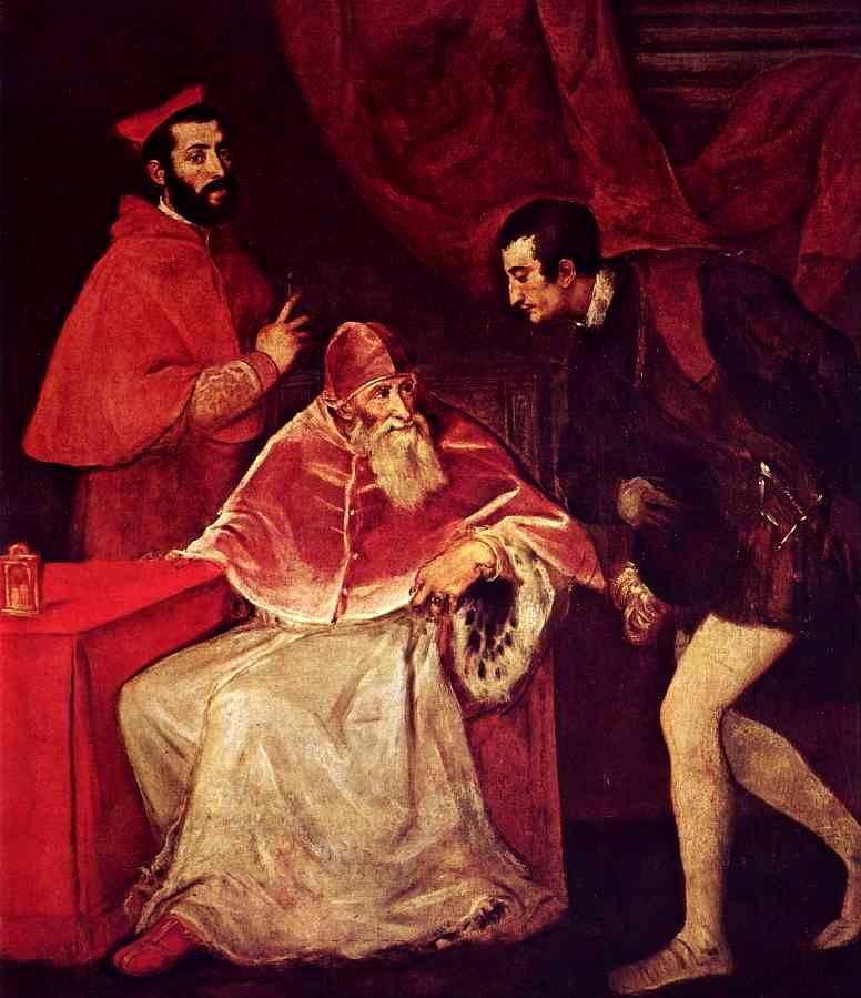 Папа с кардиналом  и герцогом