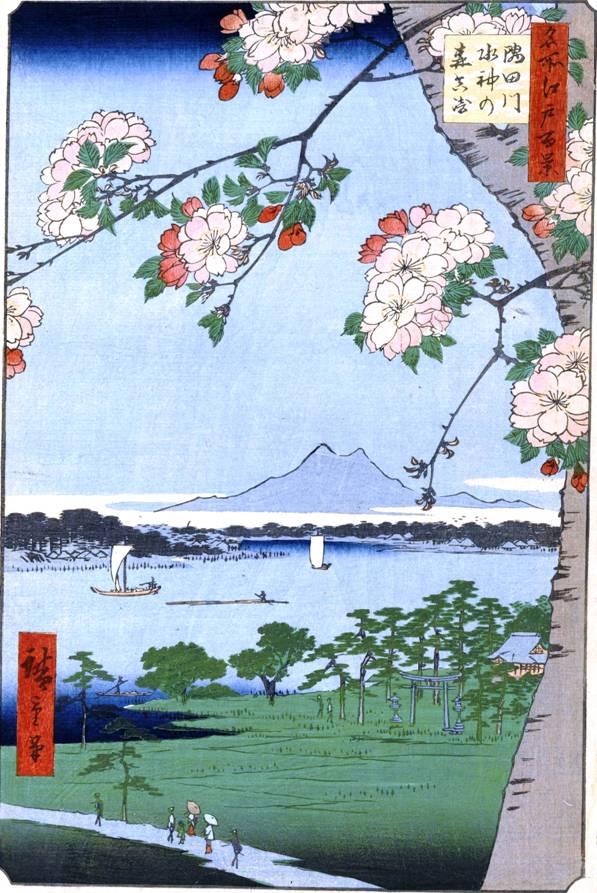 Японская графика. Цветущая вишня