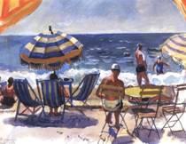 Ментона. Пляж с зонтиками