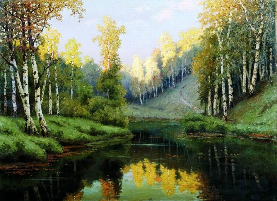 Лесное озеро. Пейзаж с лесным озером