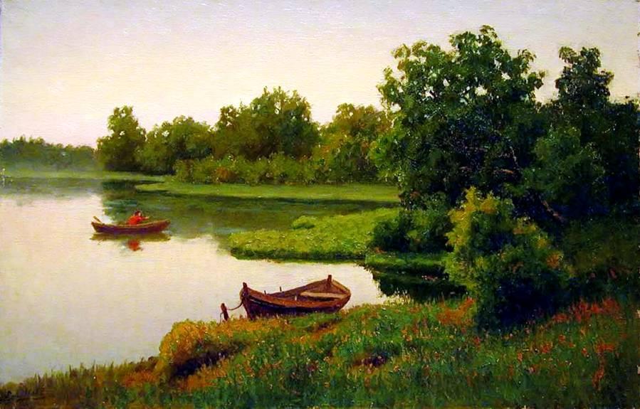 Волкова летний пейзаж с рыбаком