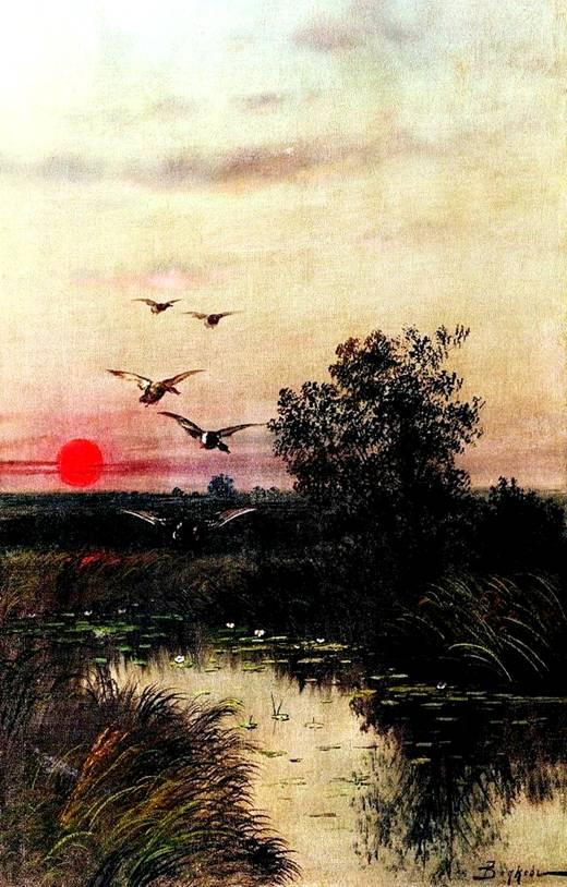 Закат. Заход солнца над озером