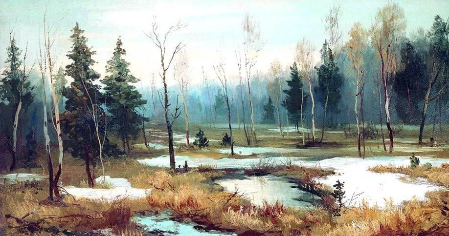 Картина волкова в конце зимы