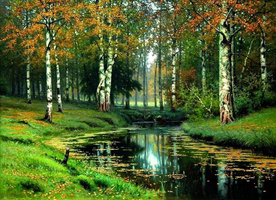 русский пейзаж Золотая осень. Тихая речка