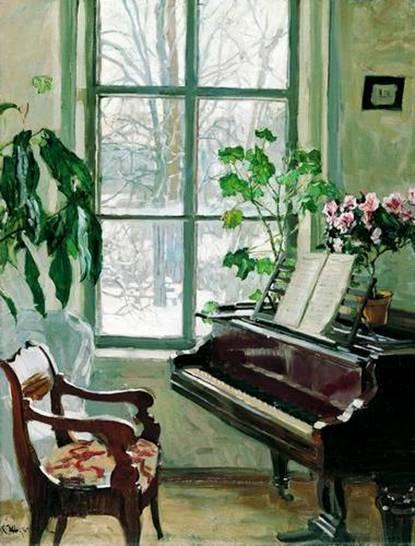 Картина жуковского гостиная с роялем