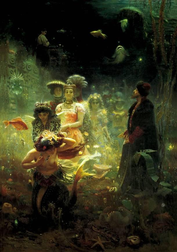 сочинение по картине пушкин на берегу репина