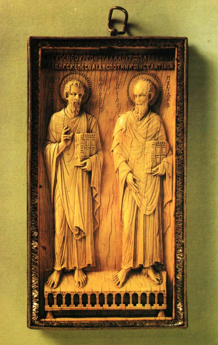Рельефная плитка из слоновой кости с изображением апостолов Иоанна и Павла