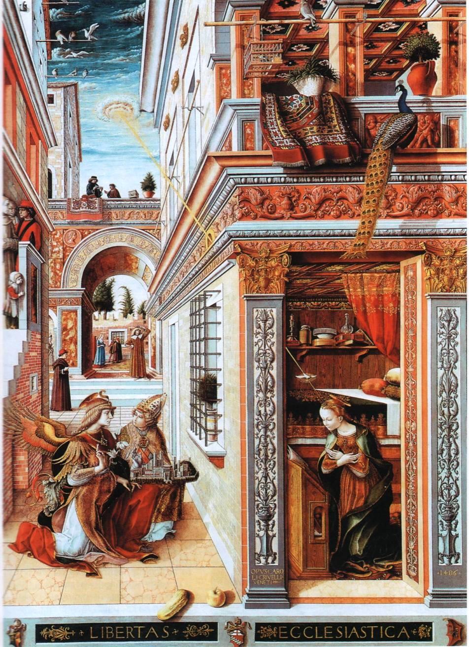Карло Кривелли (1430-1435) изображен луч НЛО, проникающий сквозь стену дома