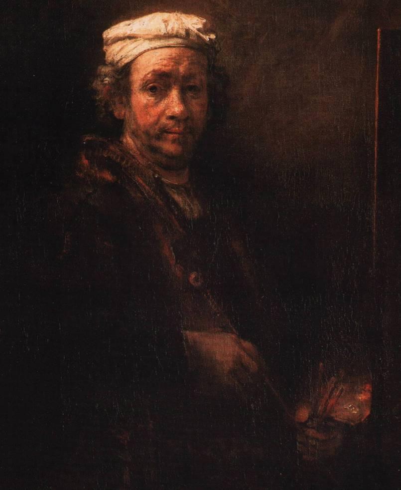 Рембрандт - Автопортрет за мольбертом