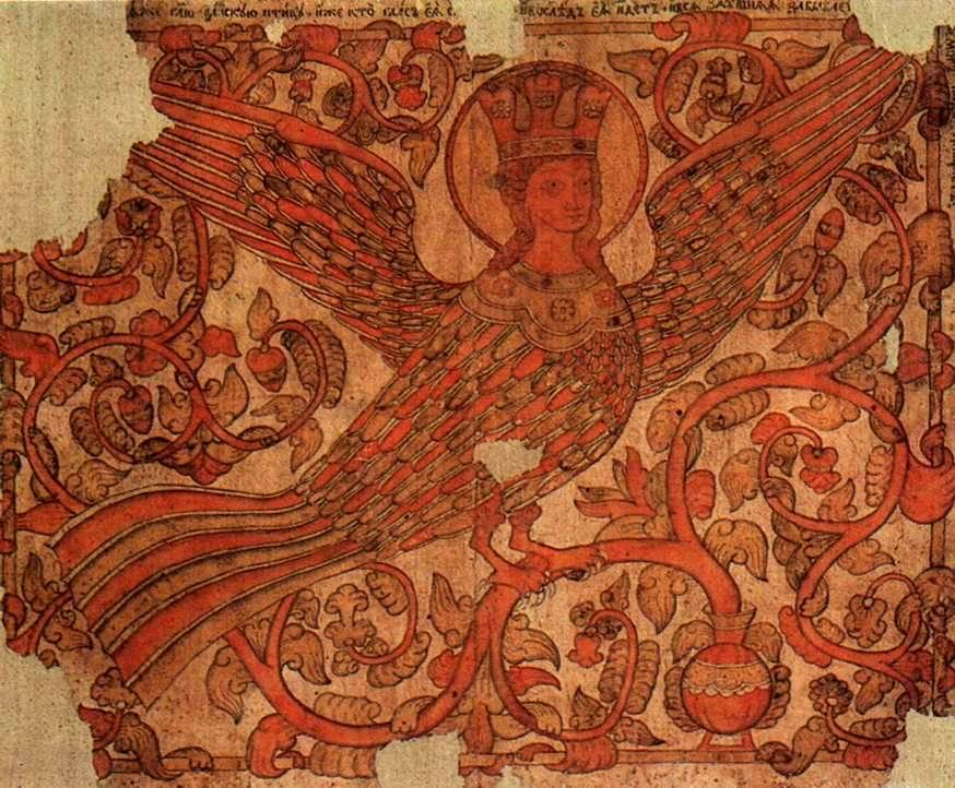 Райская птица Сирин.  Середина 19 века.  Неизвестный художник.