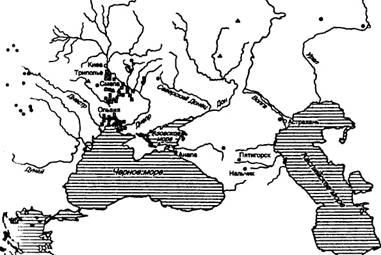 Карта экспорта металлических изделий из Ольвии