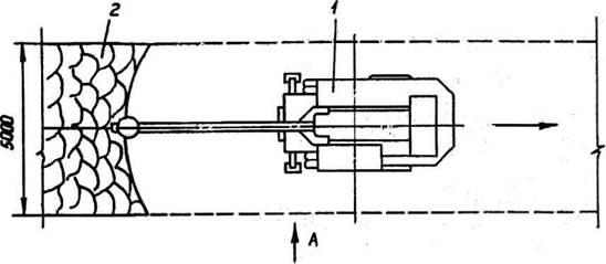 экскаватор ЭО-3322Б с навесным гидравлическим молотом СП-71; 2- разрыхленный грунт. молот СП-71.  Рис. 11.